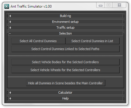 Ant Traffic Simulator Panels